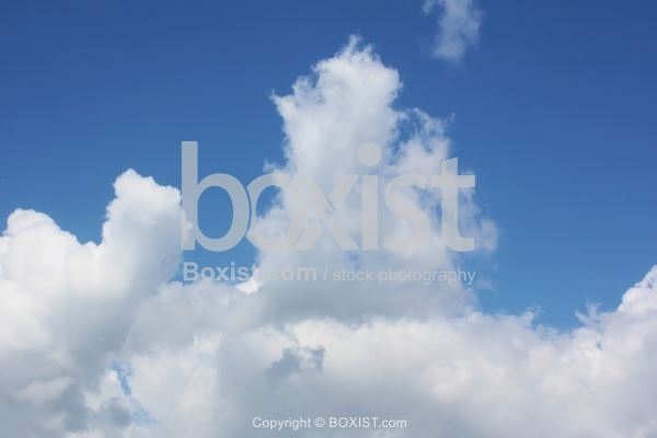 Fluffy White Clouds and Blue Sky