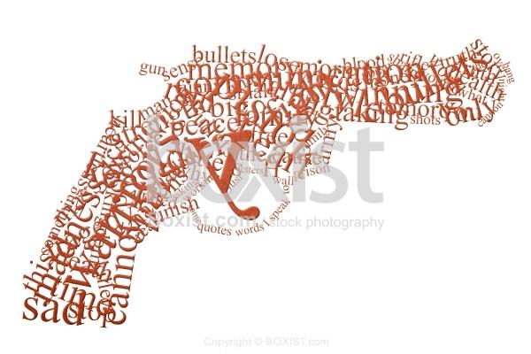 Words Can Kill in Gun Shape