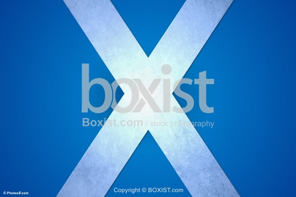 X on Blue Background