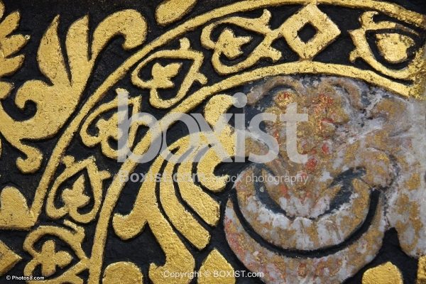Engraved Wall Painted with Golden Color