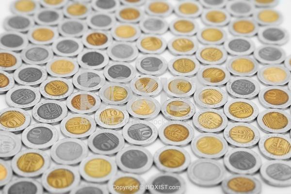 Tens of Israeli Shekels Coins