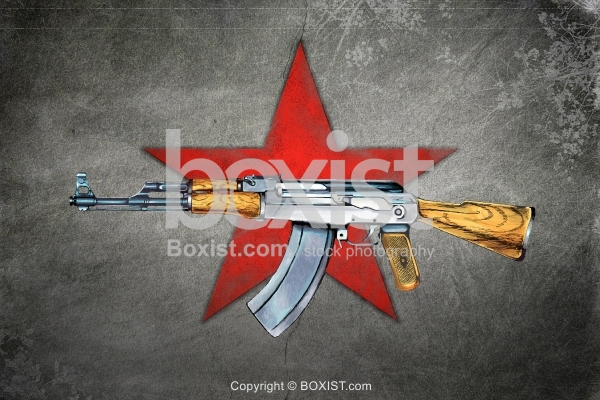 AK 47 Rifle and Communist Red Star