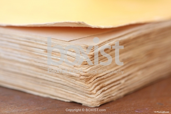 Closeup Old Yellow Book Pages