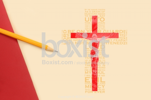 Jesus on Cross on Paper with Pencil