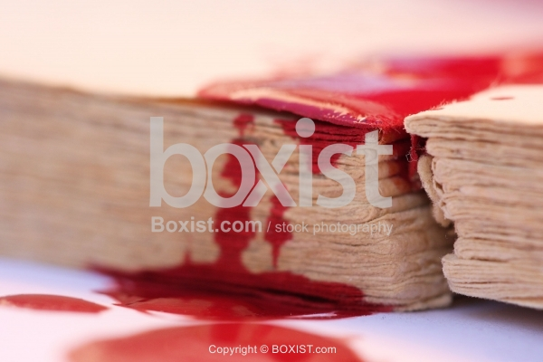 Red Blood on Old Book Pages