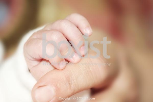 Baby Little Hand Holding Mother Finger
