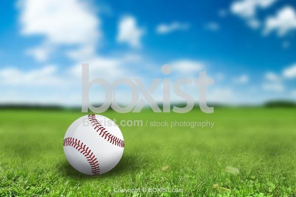 Baseball on Green Field
