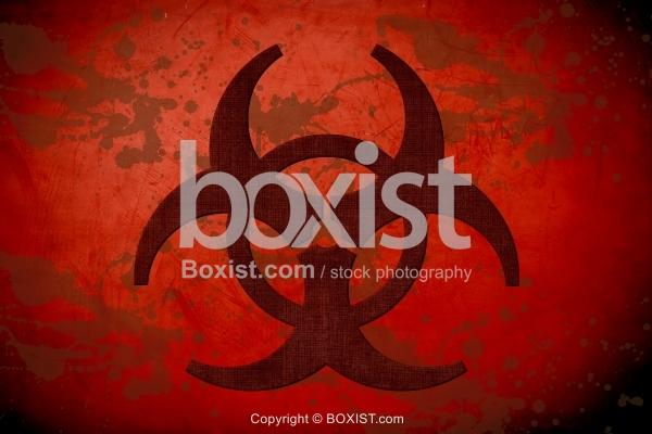 Biohazard Sign on Red Grunge Background