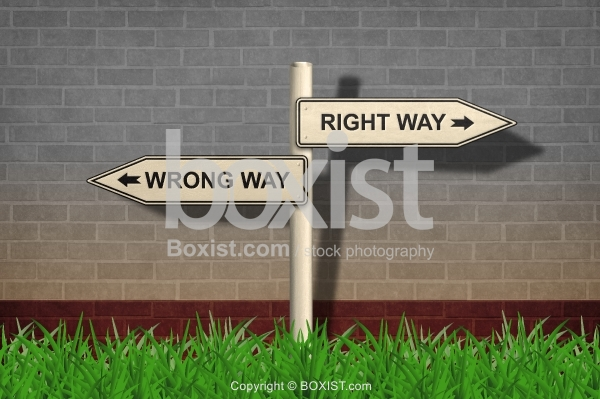 Wrong Way and Right Way Road Sign with Shadow on Wall