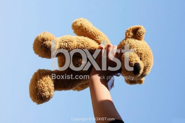 Hand Holding up Teddy Bear Over Blue Sky