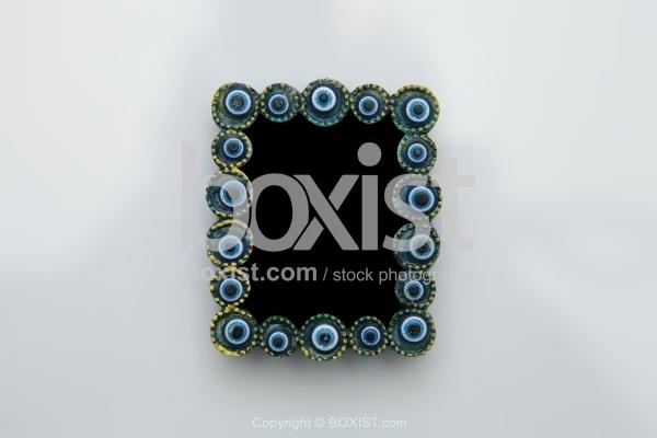Framed Blue Eye Beads