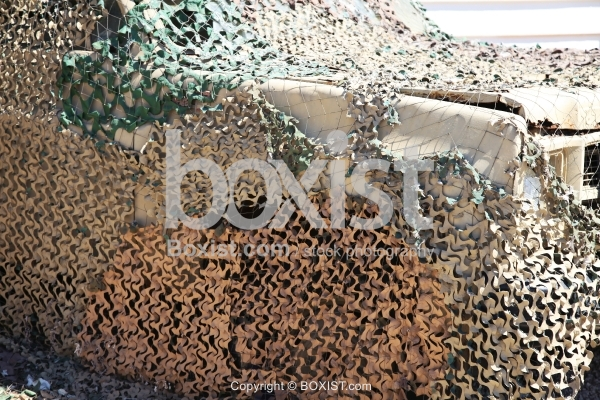 Camouflage Netting on Army Vehicle