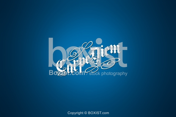 Carpe Diem on Blue Background