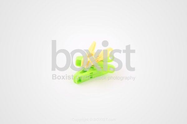 Green and Yellow Laundry Clips