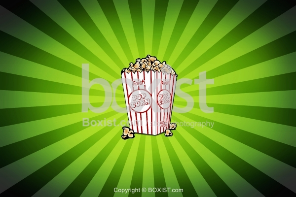 Popcorn on Green Rays Background