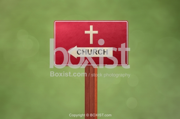 Church Wooden Sign with Cross
