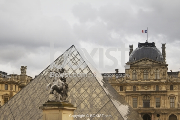 Glass Pyramid and Against Louvre Building