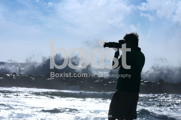 Man Photographing Waves