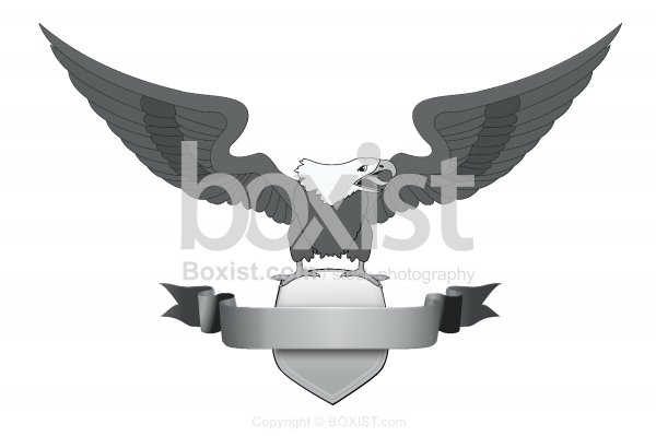 Eagle with Ribbon Logo Clipart