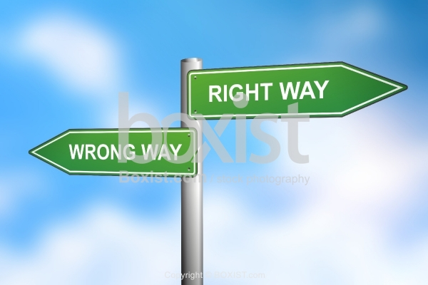 Right Way and Wrong Way Sign