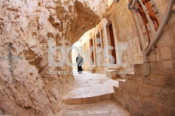 Monk Walking in Monastery of the Temptation