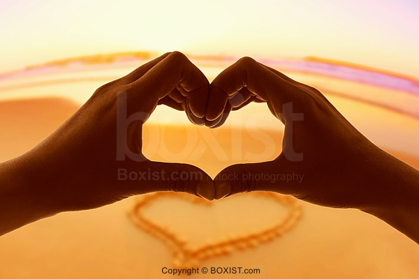 Love Hands With Heart On Beach Background