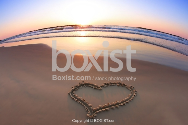 Beach Love Heart At Sunset