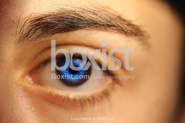 Woman Blue Eye Manipulation