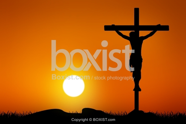 Jesus Crucifixion At Sunset