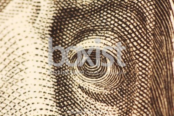 Closeup Hundred Dollars Of Benjamin Franklin Eye