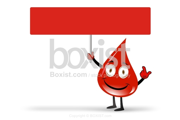 Walking Blood Drop Character With Empty Sign
