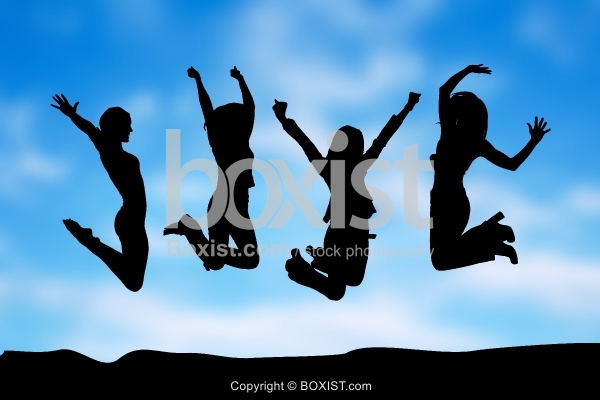 Happy Girls Jumping In The Air Silhouette