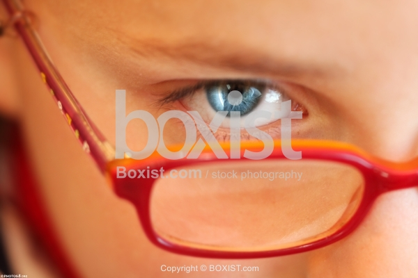 Blue Eyed Boy Look Through Glasses