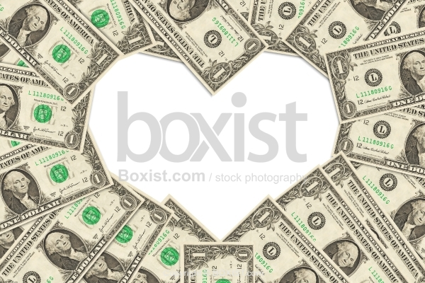 One Dollar Bills Making Heart Symbol