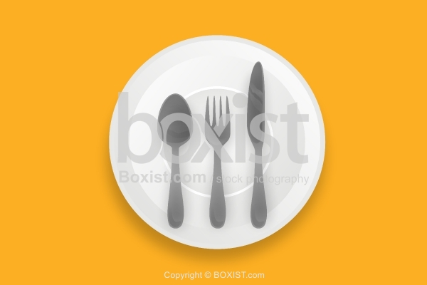 White Plate with Knife and Fork and Spoon