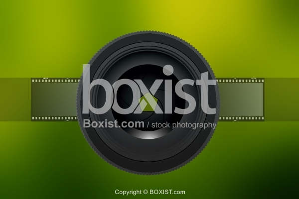 Camera Lens on Blurred Green Background