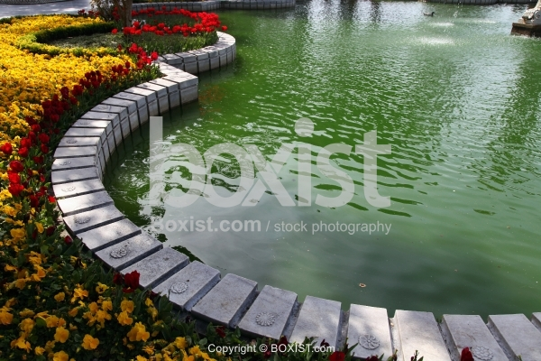 Garden With Pool And Flowers