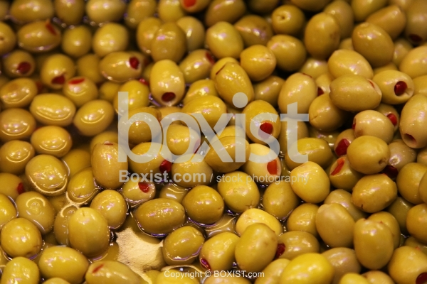 Green Olives Stuffed with Red Peppers