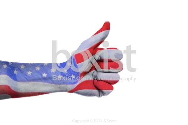 Hand Thumb Up With American Flag