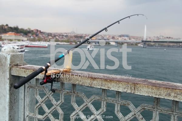 Homemade Fishing Rod Holder on Galata Bridge