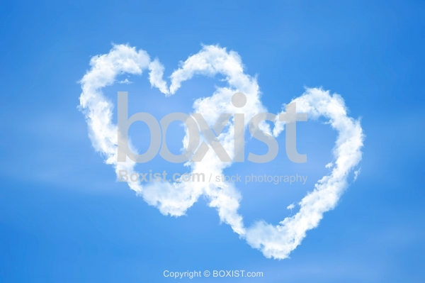 Love Hearts in the Clouds with Blue Sky