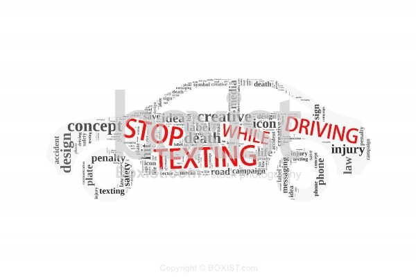 No Texting While Driving Words Cloud