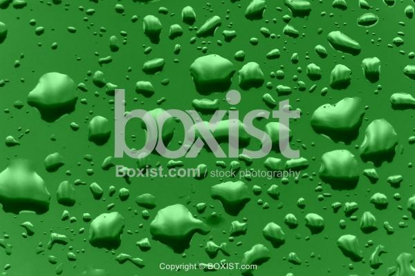 Rain Drops on Green Glass