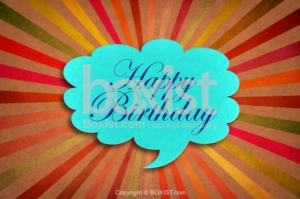 Retro Happy Birthday with Grunge Rays