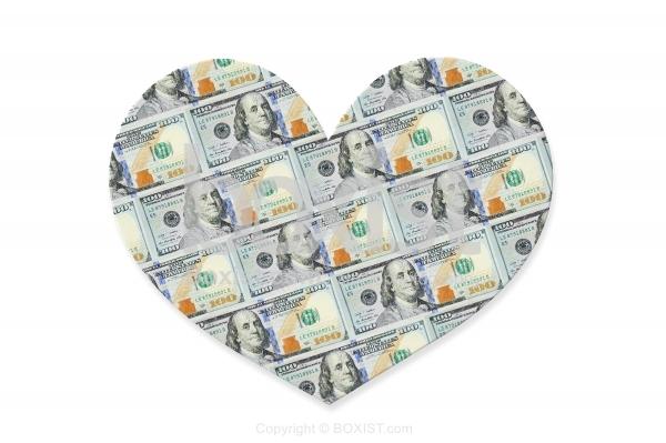 One Hundred Dollars in the Shape of Love Heart