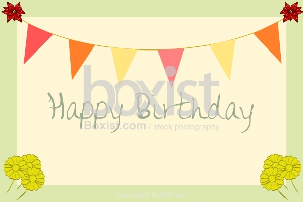 Happy Birthday With Floral Elements