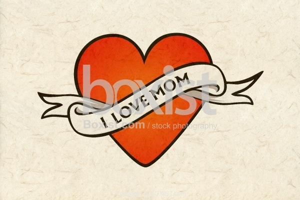 I Love Mom on Paper Texture