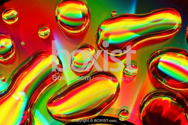Closeup Of Macro Abstract Colorful Waterdrops