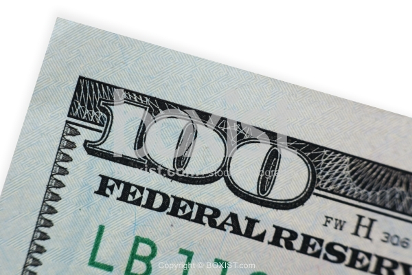 Closeup of Number 100 on Hundred Dollars Bill