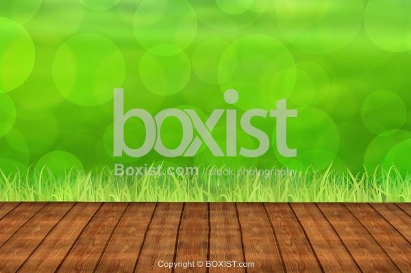 Wood Floor With Green Bokeh